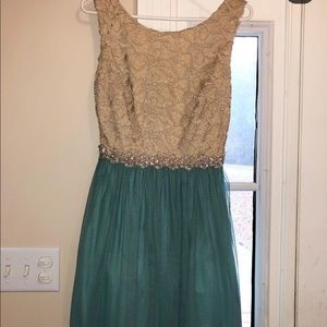 Tan and Turquoise homecoming dress